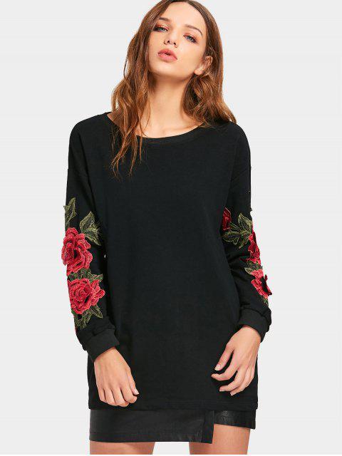 Langärmeliges Blume Applikationen Sweatshirt - Schwarz L Mobile