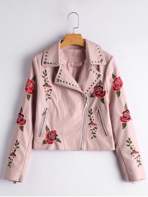 outfit Floral Patched Rivets Faux Leather Jacket - LIGHT PINK M Mobile