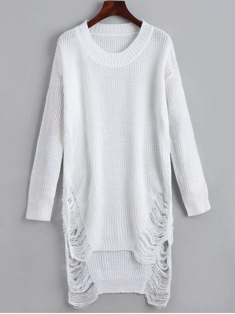 unique Distressed Mini Sweater Dress - WHITE M Mobile