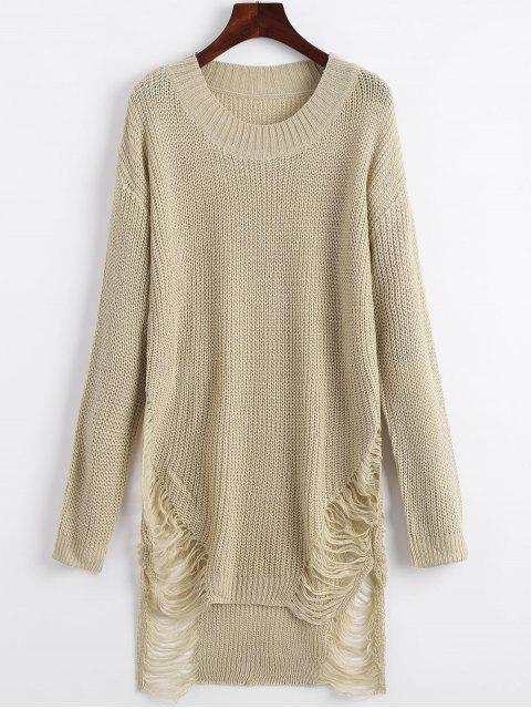 buy Distressed Mini Sweater Dress - KHAKI M Mobile