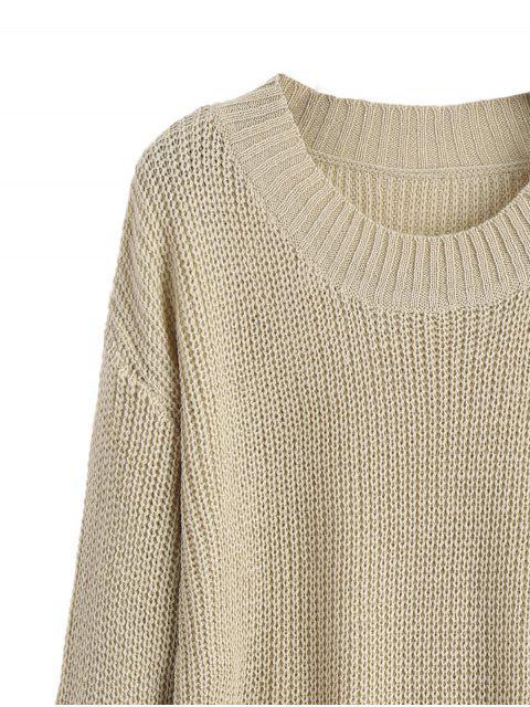buy Distressed Mini Sweater Dress - KHAKI M Mobile
