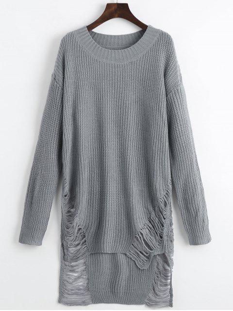 best Distressed Mini Sweater Dress - GRAY XL Mobile