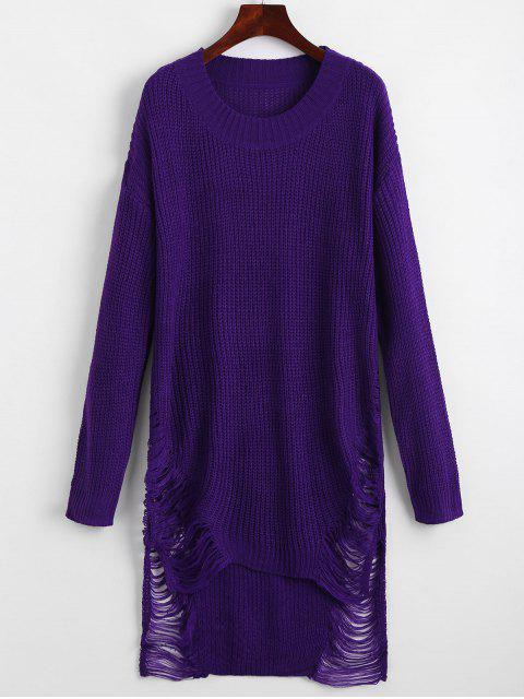 affordable Distressed Mini Sweater Dress - DEEP PURPLE L Mobile