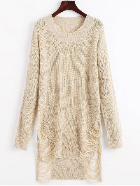 Zerrissenes Mini Pullover Kleid - Beige  XL  Mobile