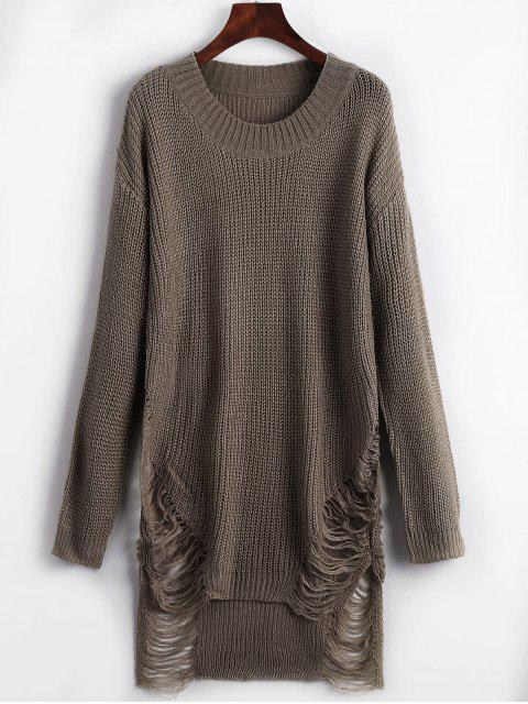 womens Distressed Mini Sweater Dress - BROWN M Mobile