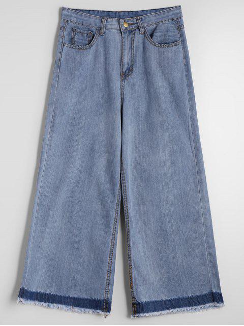 Jeans 7/8 Ceinturé à Jambes Larges - Denim Bleu M Mobile