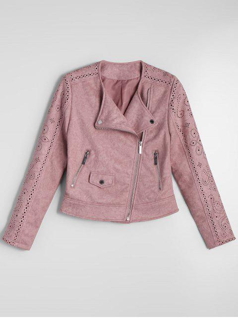 Gekürzter Zip Up Fuax Wildlederjacke - Pink L Mobile