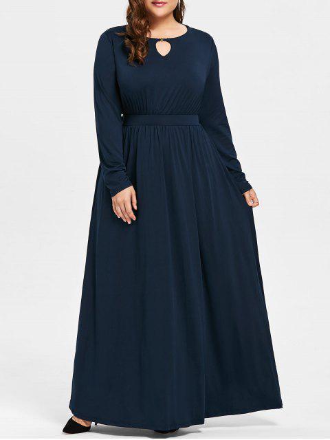 Plus Size Schlüsselloch Maxi Kleid - Schwarzblau 3XL Mobile