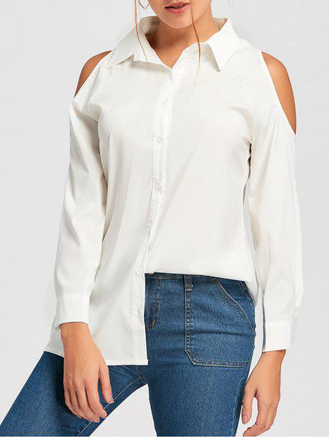 new Cold Shoulder Button Down Tunic Shirt - WHITE L Mobile