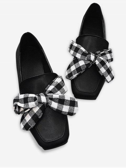 ladies Slip On Bowknot Square Toe Flat Shoes - BLACK 36 Mobile