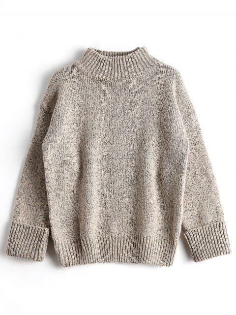 shop Loose Heathered Mock Neck Sweater - APRICOT ONE SIZE Mobile