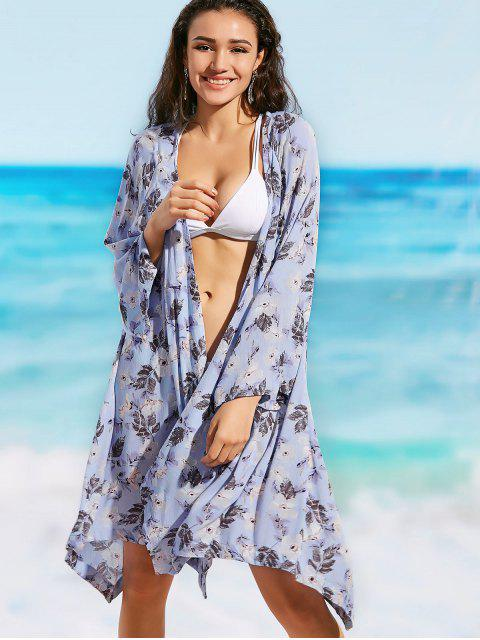 womens Long Sleeve Floral Beach Kimono - FLORAL L Mobile