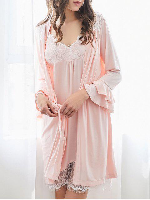 Loungewear Cami Kleid mit Kimono - Rosa M Mobile