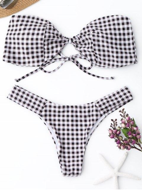 Kariertes Bandeau Thong Bikini Set - Kariert S Mobile