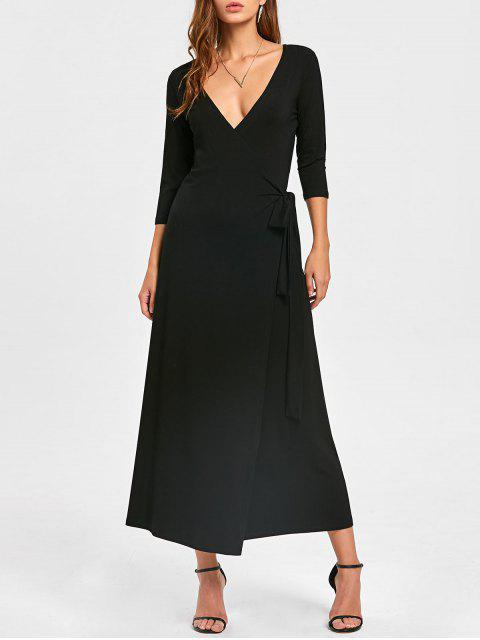 latest Plunging Neck Mid-calf Wrap Dress - BLACK M Mobile