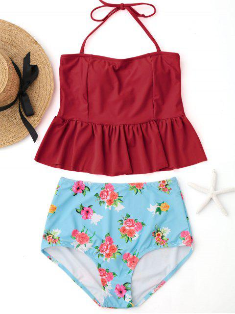 trendy Ruffles Floral Peplum High Waisted Tankini Set - RED M Mobile