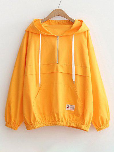 Patched Pocket Half Zip Hoodie - Yellow