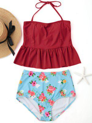 Ruffles Floral Peplum High Waisted Tankini Set