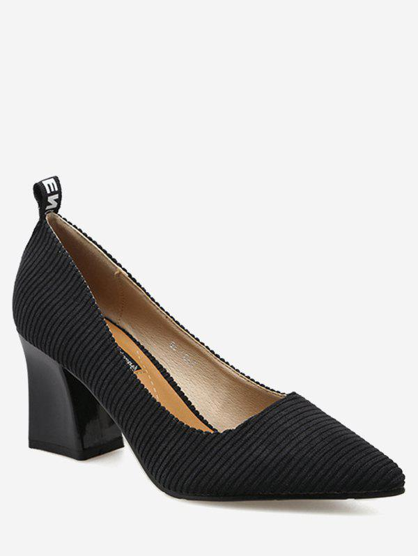Chunky Heel Pointed Toe Stripes Pumps 226766502