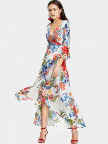 Maxi Wickel Kleid Mit Schlitz Und Tropischem Druck - Weiß L
