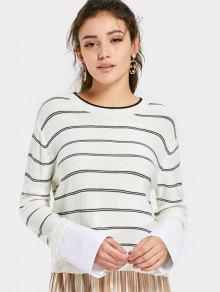 Pull Rayé à Motif Manches Chemises - Blanc L