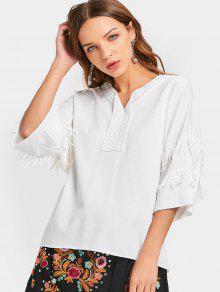 Camiseta Con Cuello En V Con Franjas - Blanco Xl