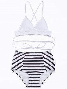 Ensemble De Bikini à Rayures Hautes - Blanc Et Noir S
