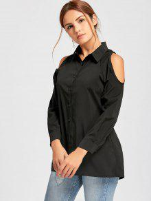 570ab7fbf33 21% OFF] 2019 Cold Shoulder Button Down Tunic Shirt In BLACK | ZAFUL