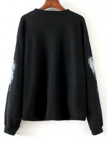 M Distressed Graphic Negro Sudadera Sequins IxP5vdqwTC