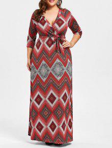 مربوط سوربليس هندسية بالاضافة الى حجم فستان ماكسي - أحمر 5xl