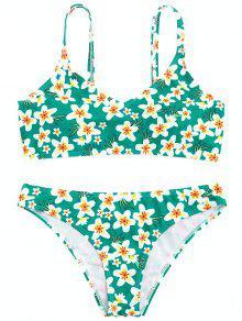 Juego De Bikini Floral Relleno - Verde L