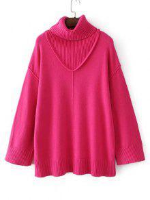 Suéter De Cuello Alto Con Hombros Largos - Rosa Roja