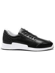 فو الجلود جولة اصبع القدم أحذية رياضية - أسود 40