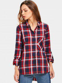 Button Up Checked Pocket Shirt - Carré L