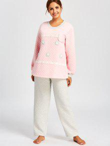0d9bbf5db1c61 31% OFF] 2019 Winter Nursing Pajamas Set With Applique In PINK | ZAFUL