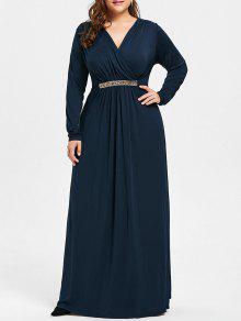 فستان الحجم الكبير حجر الراين مطرز كهنوتي ماكسي - ازرق غامق 2xl