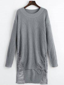 Mini Robe Pull Détresse - Gris M