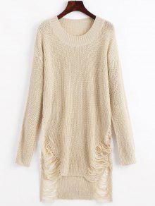 فستان سويت مصغر مهترئ - اللون البيج L