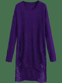 Distressed Mini Sweater Dress DEEP PURPLE: Sweater Dresses XL | ZAFUL