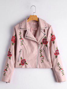 Chaqueta De Cuero De Imitación De Remache Con Remache Floral Adornado - Rosa Luz M