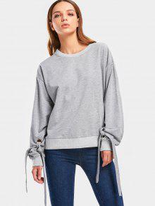 5b7347aca5c129 25% OFF] 2019 Plain Self Tie Sleeve Sweatshirt In GRAY | ZAFUL