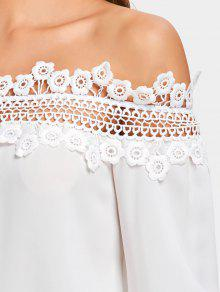 Hombro Blanco La Hacia Ahueca Blusa Del M Floral Fuera Fuera 5nRq8wx