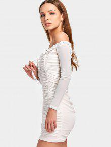 3fc58b176b 26% OFF  2019 Off The Shoulder Ruched Mesh Dress In WHITE