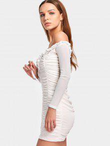 8ef89bf646 26% OFF  2019 Off The Shoulder Ruched Mesh Dress In WHITE