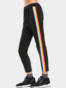 Pantalones Deportivos De Rayas Cintura Alta - Negro L
