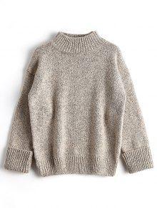 Loose Heathered Mock Neck Sweater