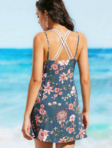 Con Cortado Corte Vestido Cami Floral L Atado Floral De Playa C7BI1wq