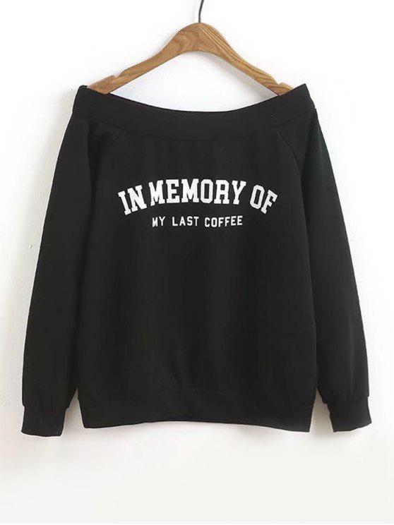 Sweat-shirt à Lettre à Épaules Dénudées - Noir S
