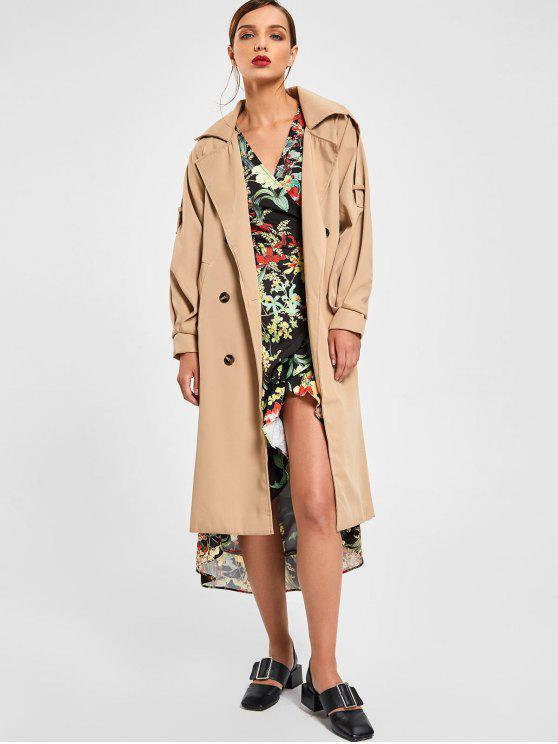 Belted Overlay Longline Trench Coat - Khaki S