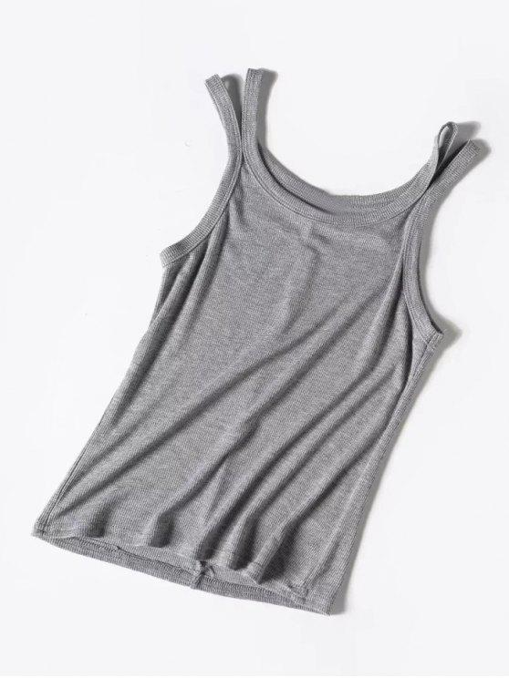 best Knitted Cutout Tank Top - GRAY ONE SIZE